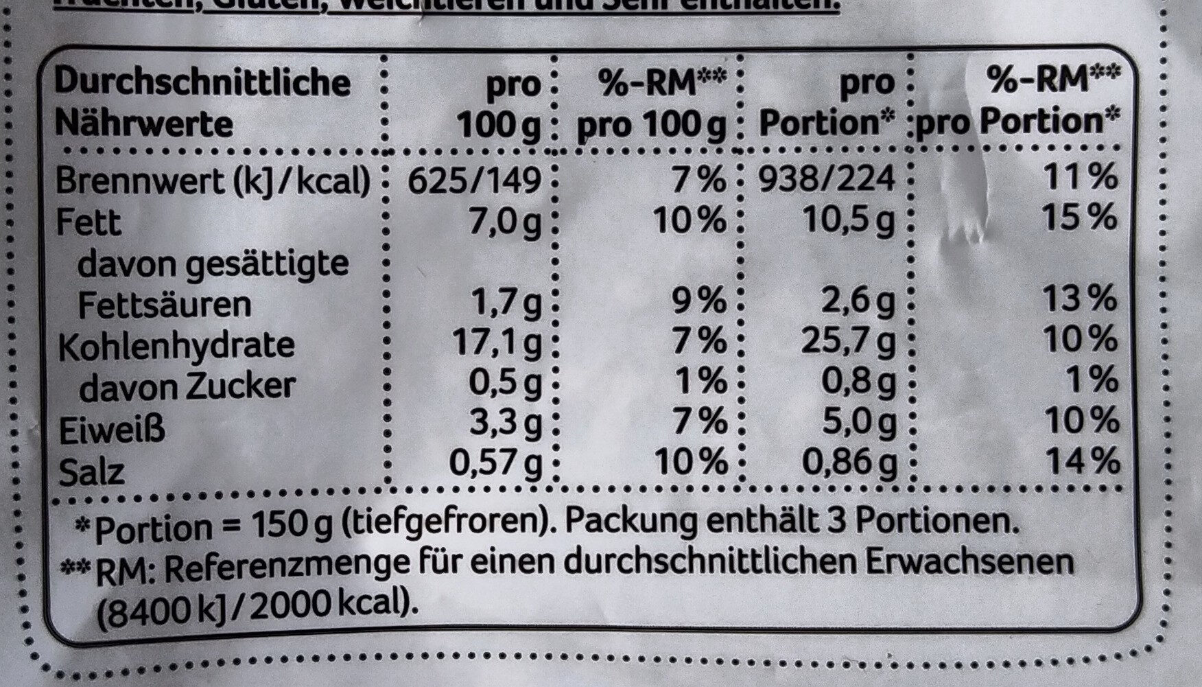 Kartoffelhälften mediterran - Nährwertangaben - de