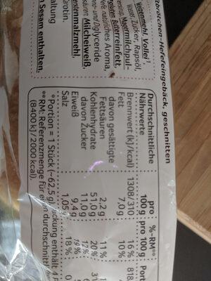 Burger Buns Brioche - Nutrition facts