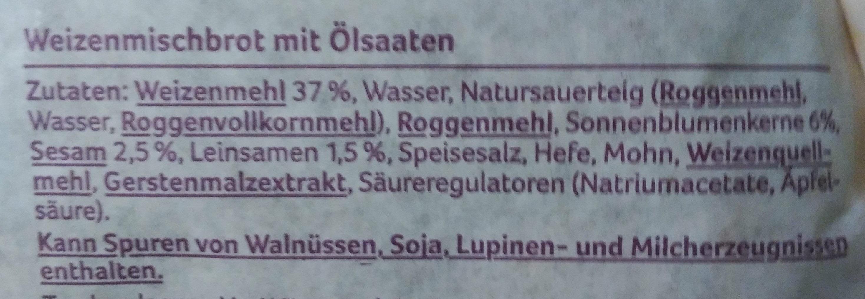 Weizenmischbrot mit Ölsaaten - Ingrediënten - de