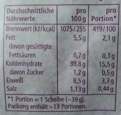 Weizenmischbrot mit Ölsaaten - Voedingswaarden - de