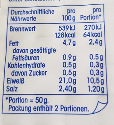 Lachsforelle mit Edelholzrauch - Nutrition facts