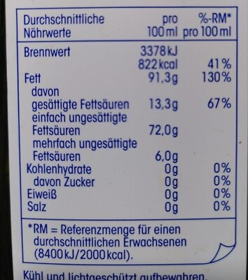 Natives Olivenöl Extra - Nutrition facts - en