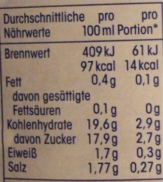 Tomatenketchup - Nutrition facts - de