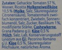 Pasta Sauce Tomate-Ricotta - Ingrédients