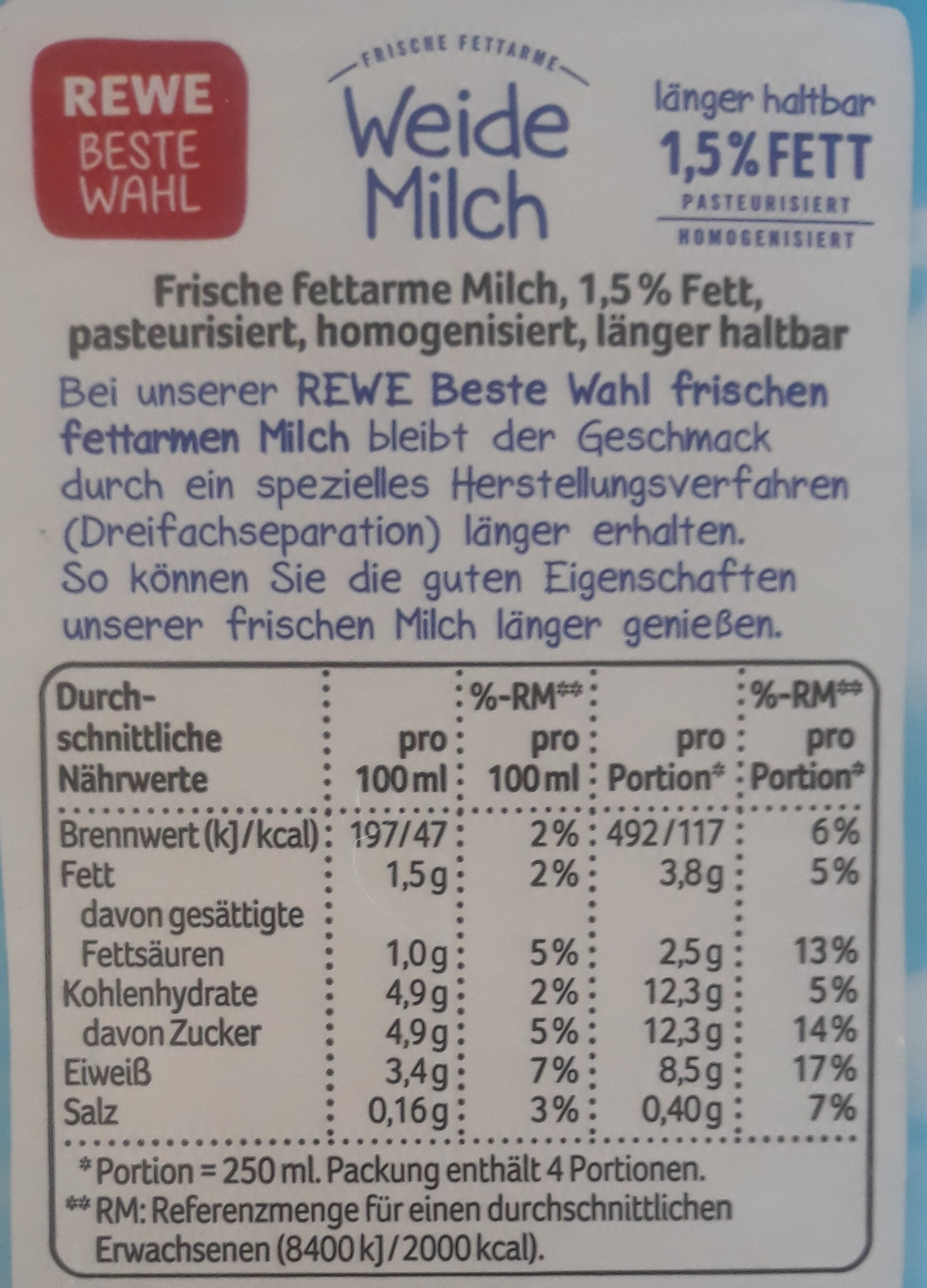 Weide Milch - Nutrition facts