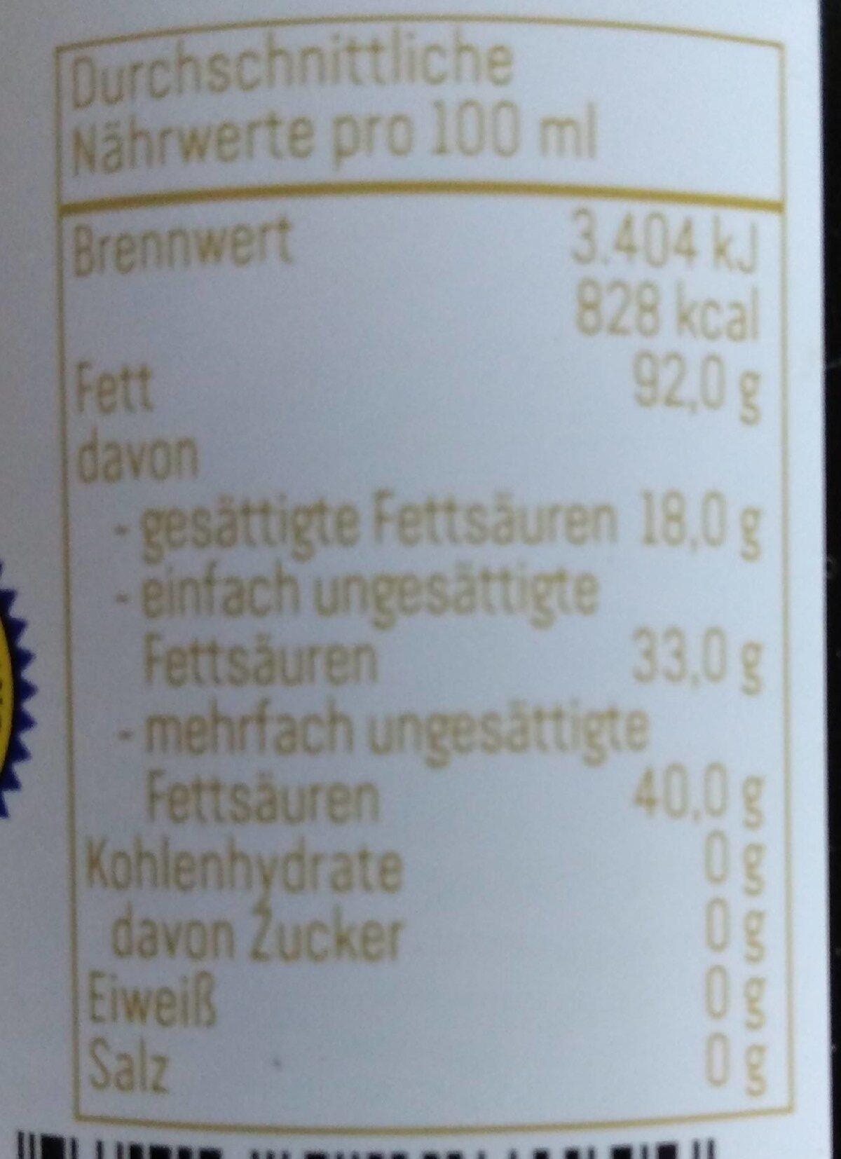 Steirisches Kürbiskernöl g. g. A. - Valori nutrizionali - de