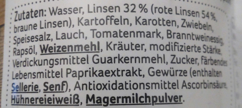 Vegetarische Linsensuppe mit roten Linsen - Ingrediënten - de