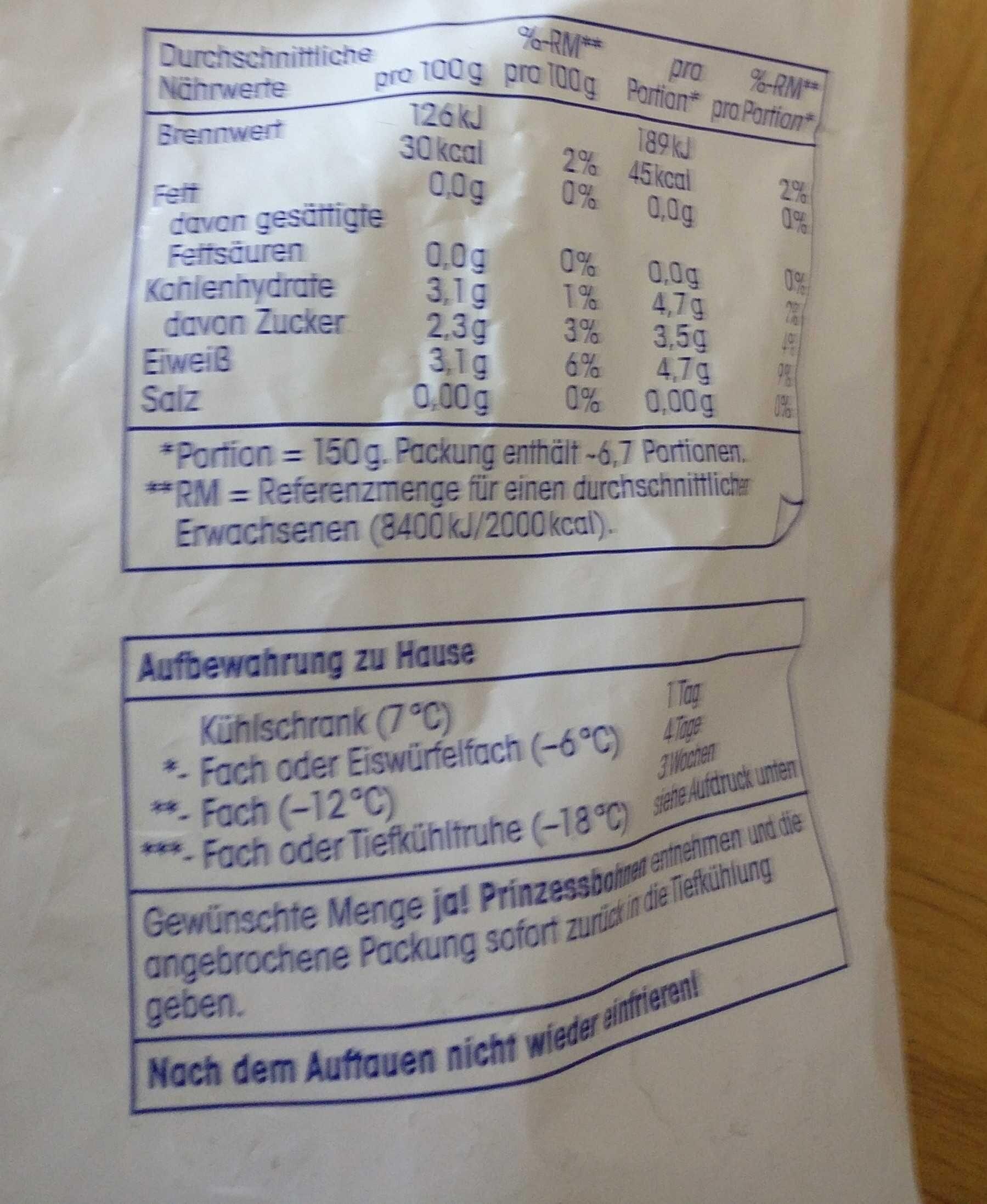 Prinzessbohnen TK - Nutrition facts - en