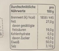 Käse Snack - Nährwertangaben - de