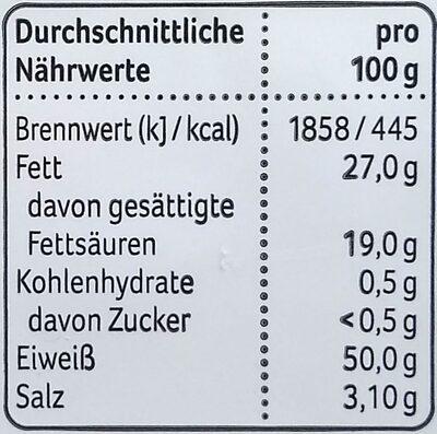 Käse Snack - Nährwertangaben