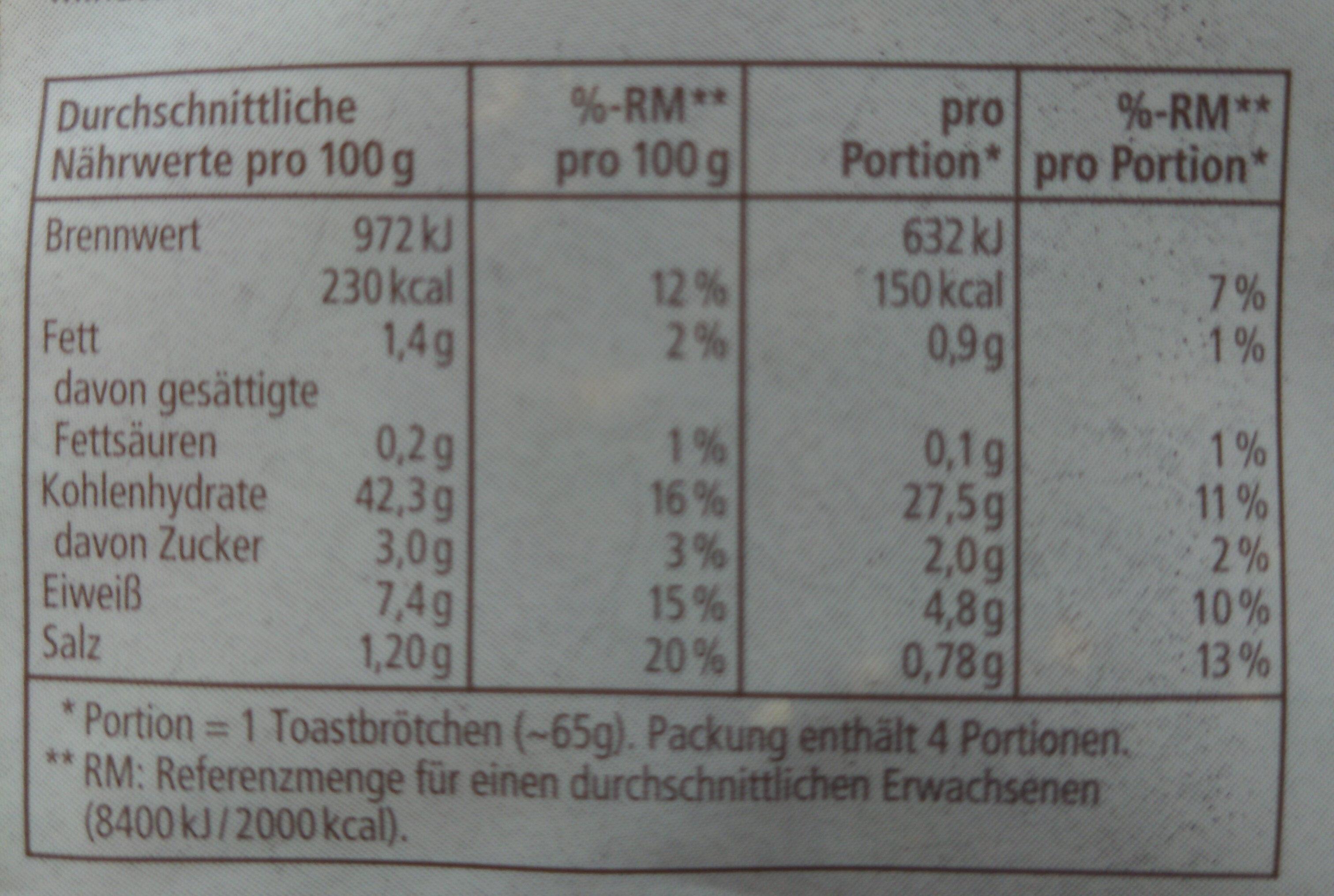 Bio FinnToasties - Informations nutritionnelles - de