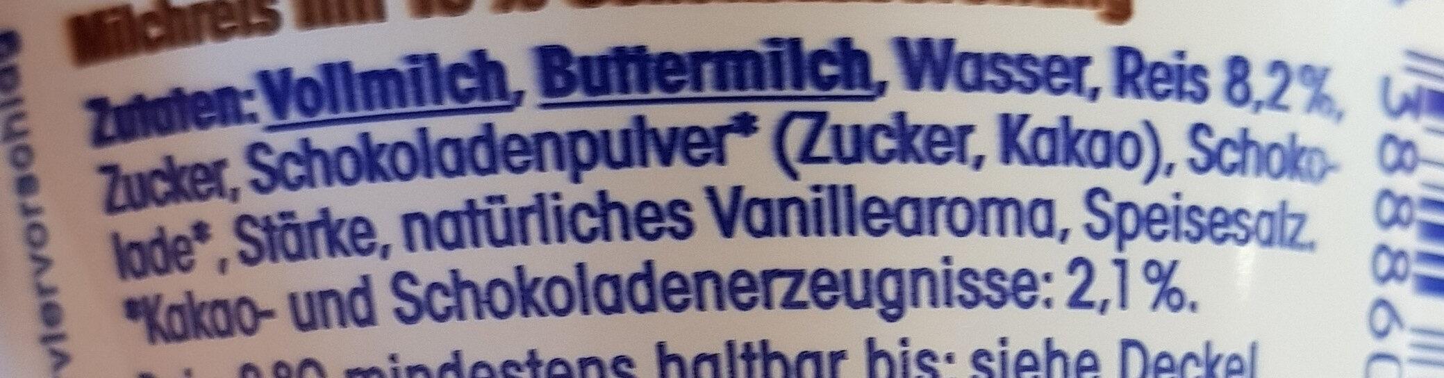 Milchreis Schoko - Inhaltsstoffe - de