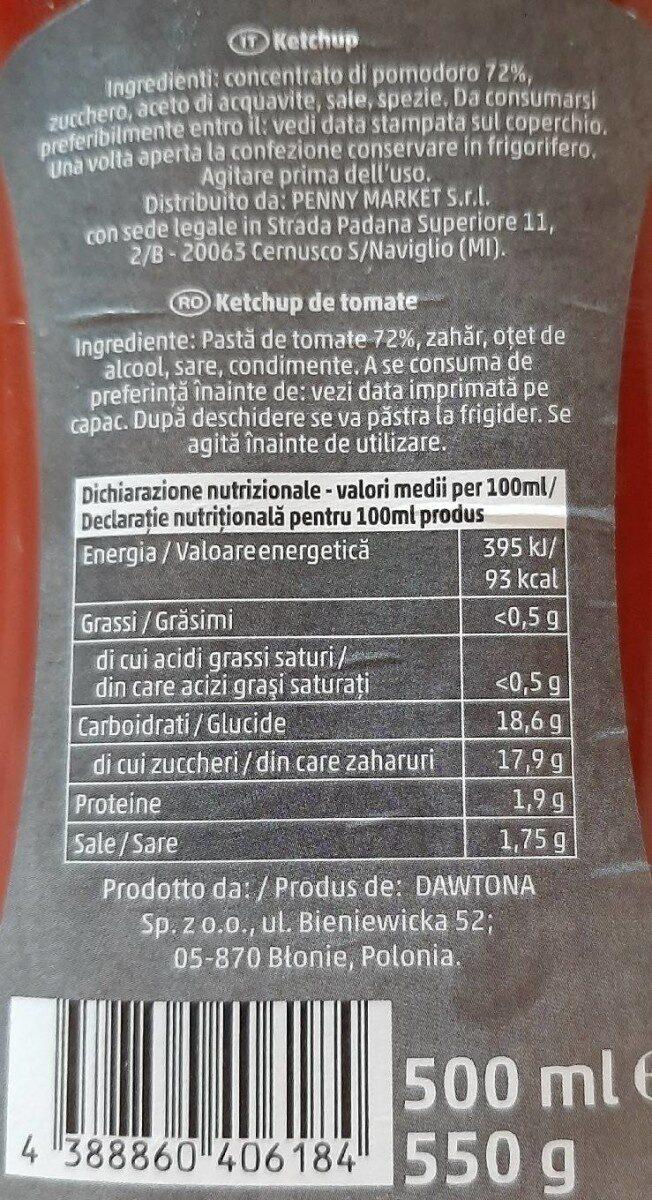 Ketchup mild - Valori nutrizionali - it