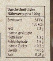 Tofu Natur - Nährwertangaben - de