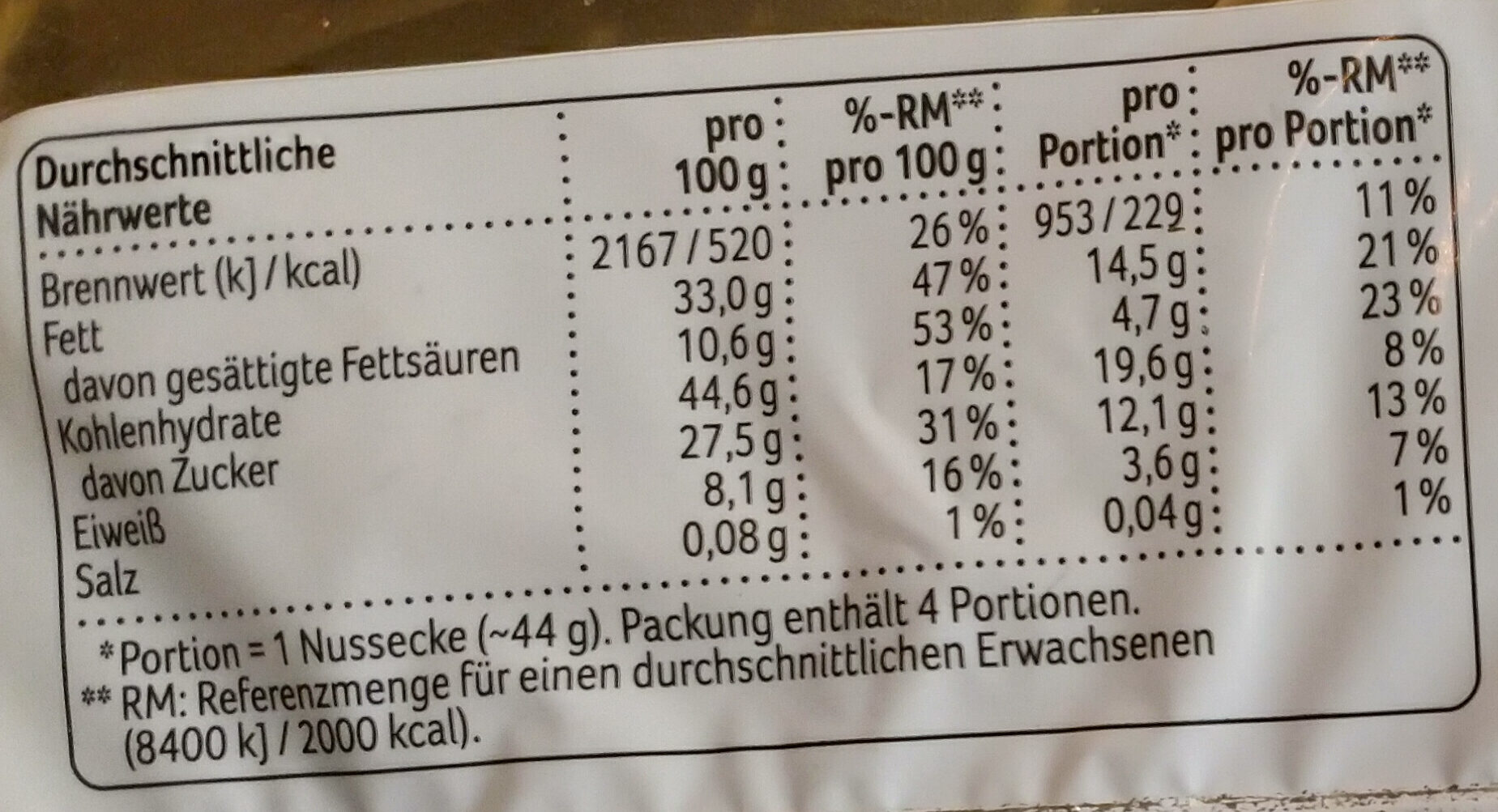 Nussecken - Informations nutritionnelles - de