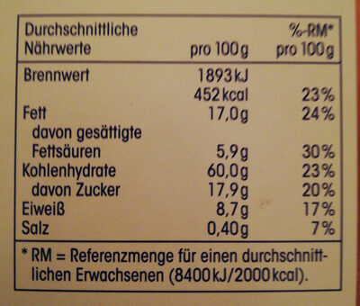 Knusper Müsli schoko - Nutrition facts