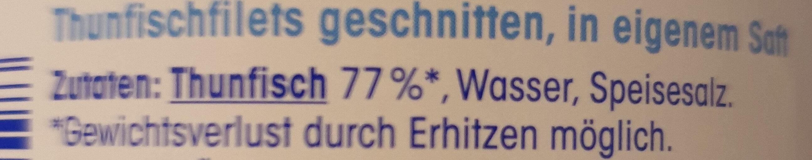 Thunfisch-filet in eigenem Saft - Ingredienti - de