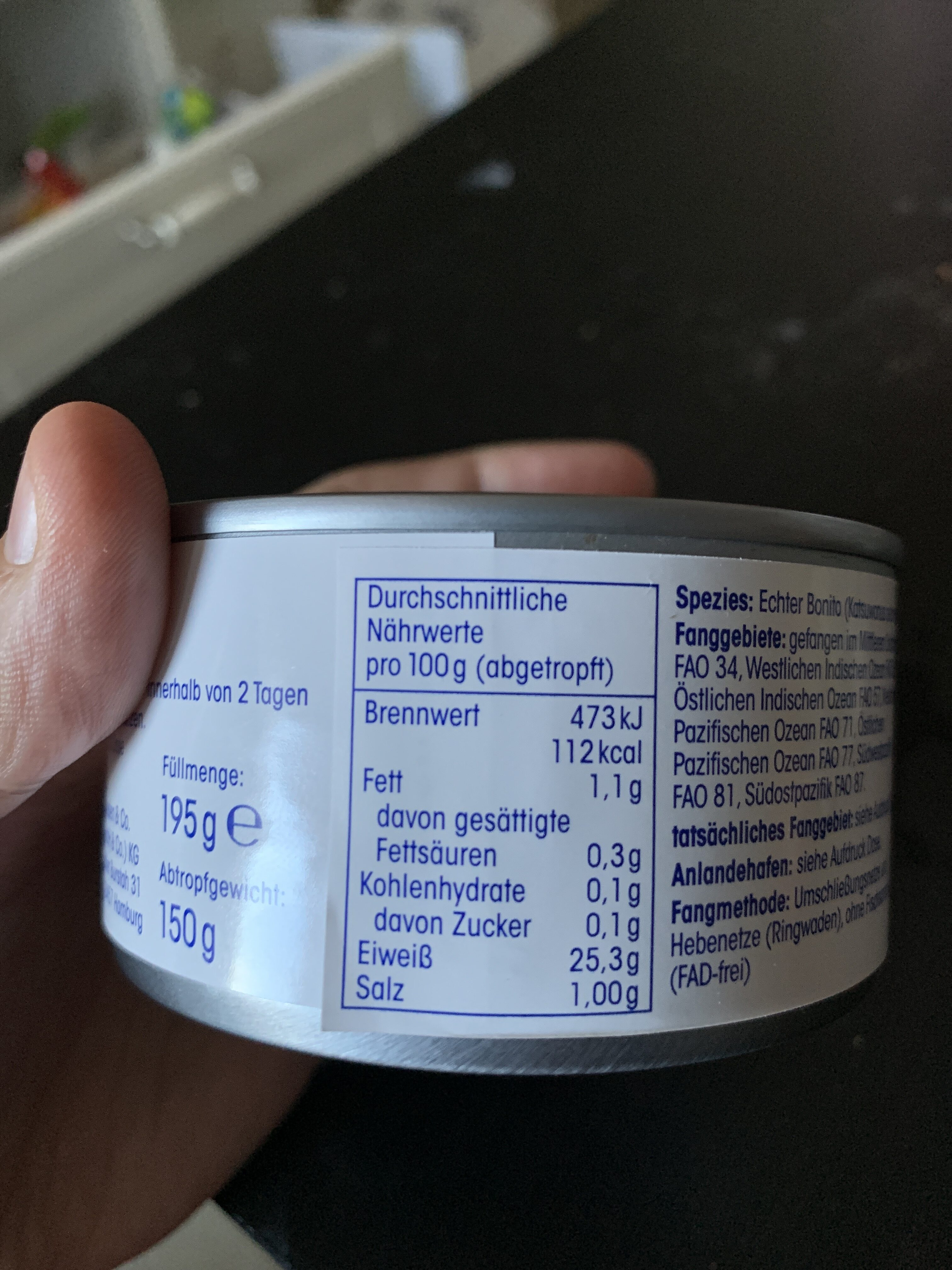 Thunfisch-filet in eigenem Saft - Valori nutrizionali - de