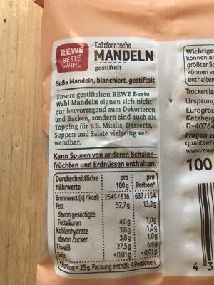 Kalifornische Mandeln - Ingrediënten
