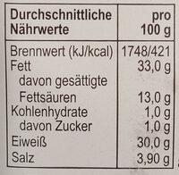 Salami in Brezelform - Informations nutritionnelles - de