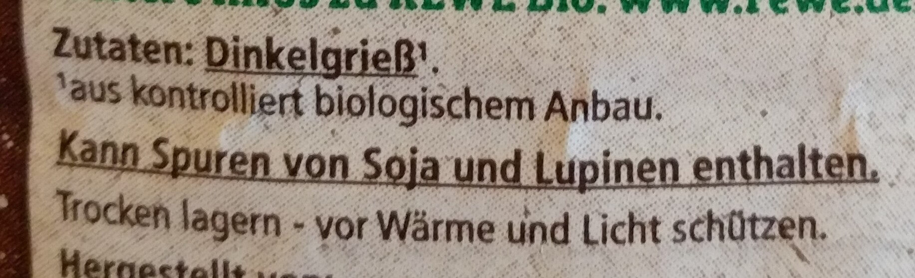 Bio-Dinkelgrieß - Ingredients
