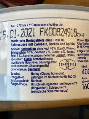 Sahne Heringsfilets nach Hausfrauen-Art - Ingredients - de