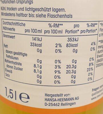 Orangen-Limonade - Nutrition facts - de