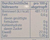 Thunfisch-Filets im Eigenen Saft - Nährwertangaben - de