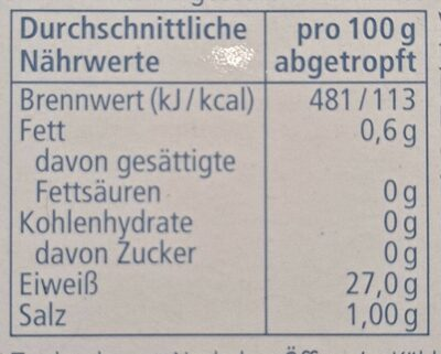 Thunfisch-Filets im Eigenen Saft - Nährwertangaben