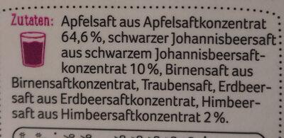 REWE Beste Wahl Apfel Schwarze Johannisbeere Himbeere - Zutaten - de