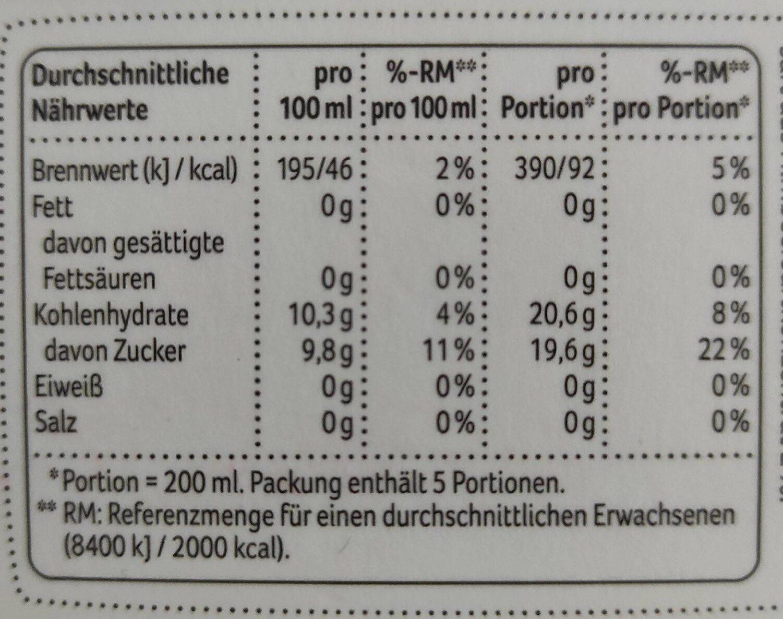REWE Beste Wahl Apfel Schwarze Johannisbeere Himbeere - Nährwertangaben - de