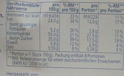 Stracciatella feiner Rührkuchen - Voedingswaarden - de
