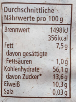 Bircher Müsli - Nutrition facts - de
