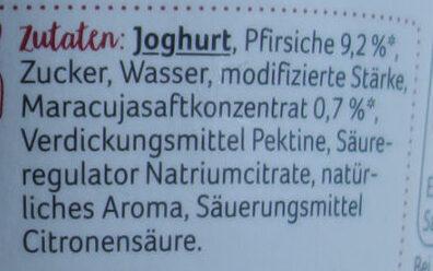 Weidemilch-Joghurt Pfirsich-Maracuja - Inhaltsstoffe