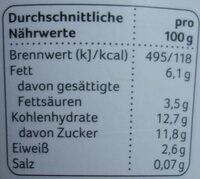 Weidemilch-Joghurt Pfirsich-Maracuja - Nährwertangaben