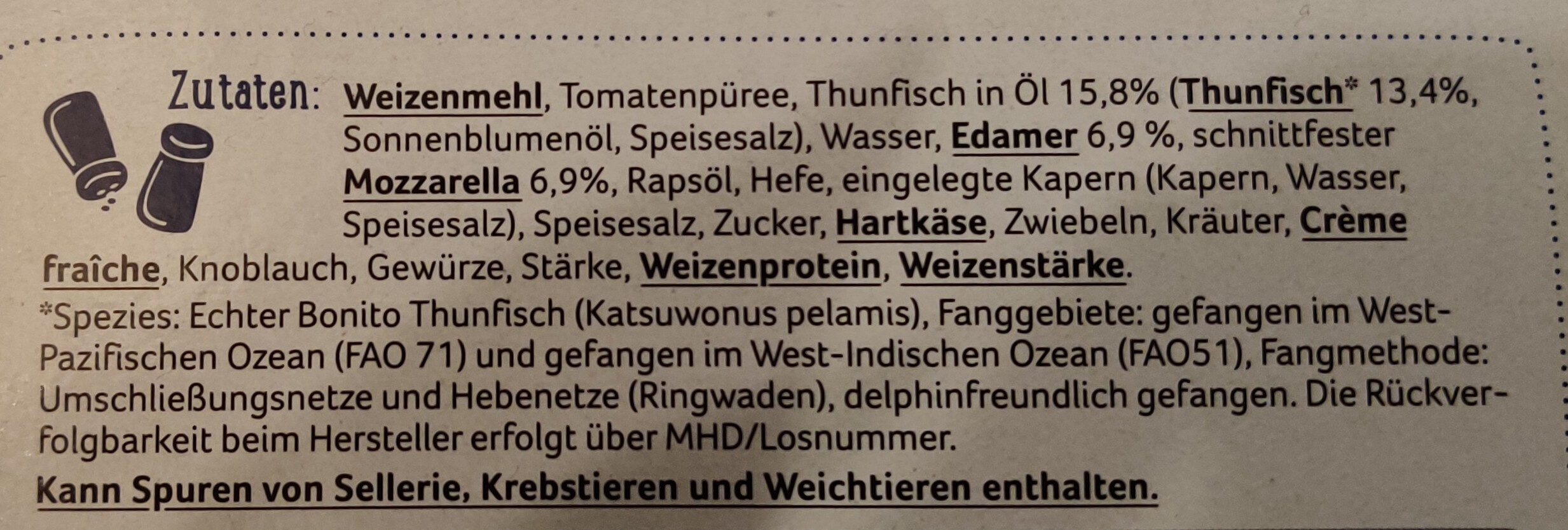 Pizza Classics Thunfisch - Ingredients
