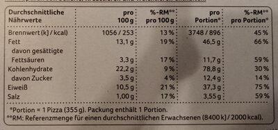 Pizza Classics Thunfisch - Nährwertangaben - de