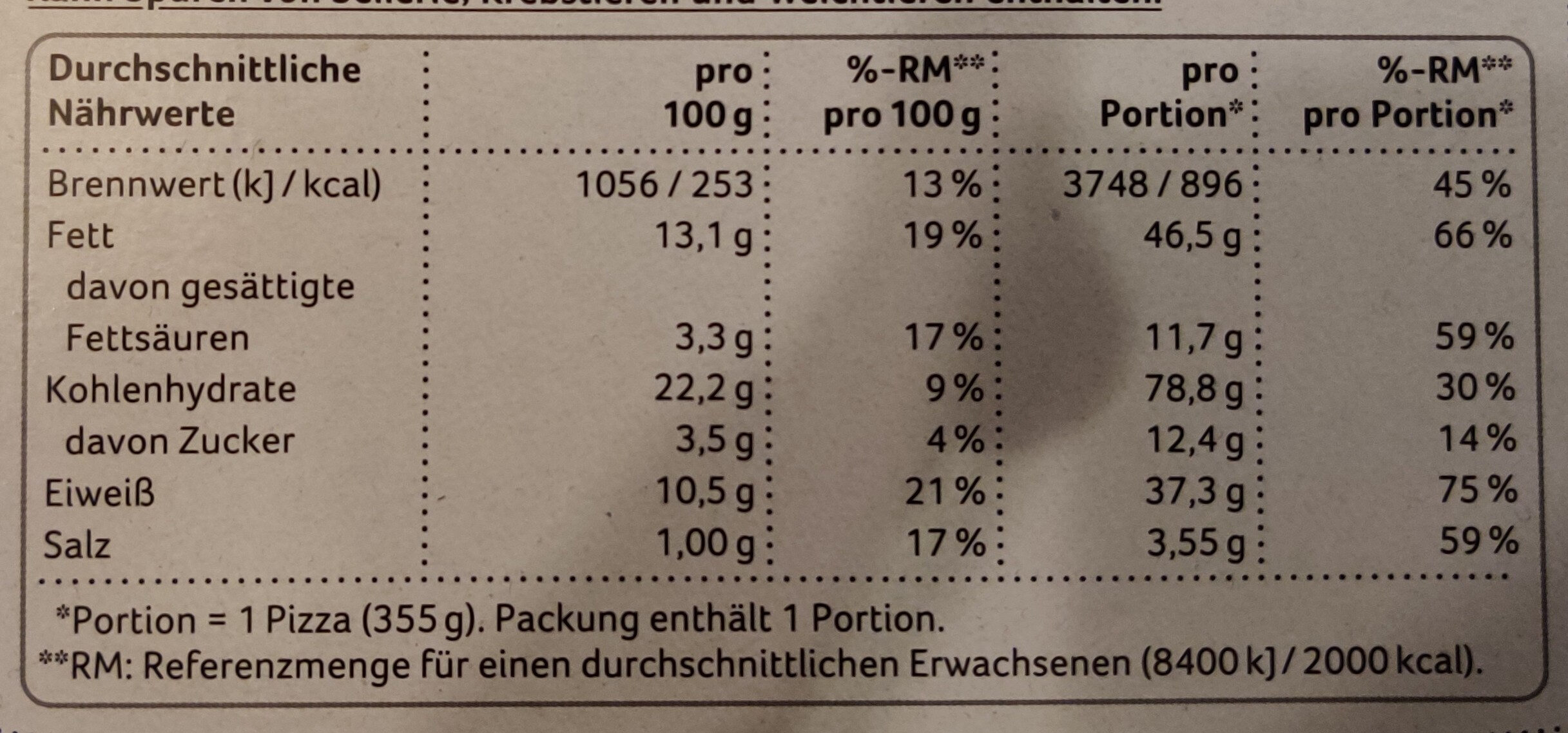 Pizza Classics Thunfisch - Nutrition facts