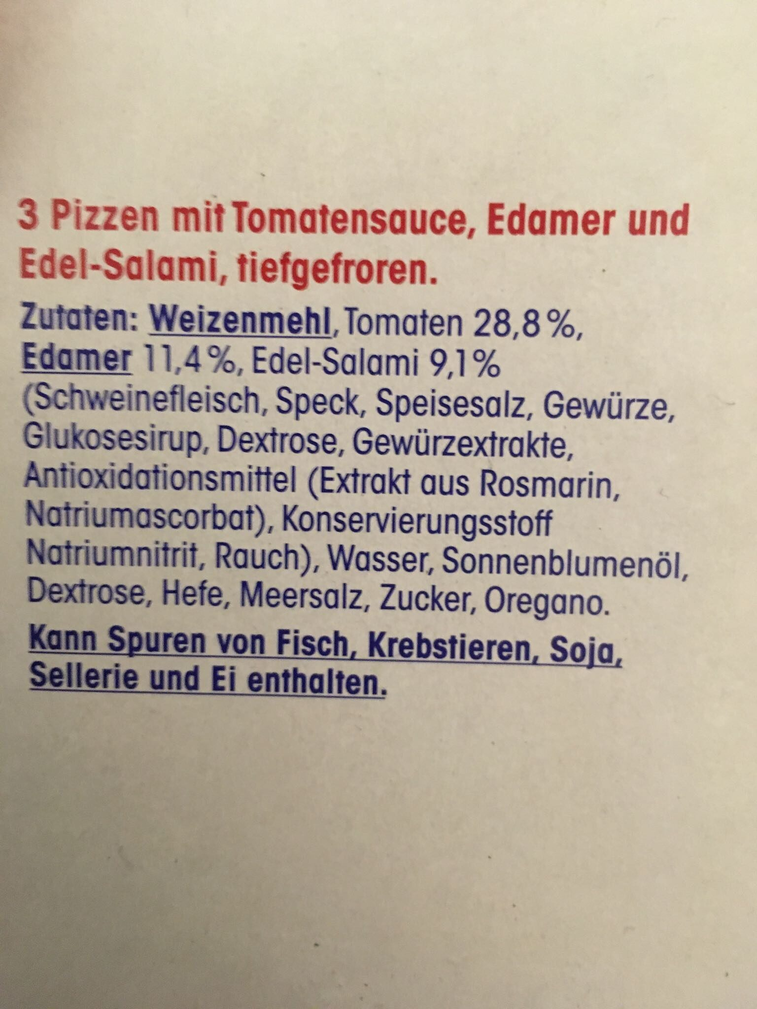 Salamipizza - Ingredients - de