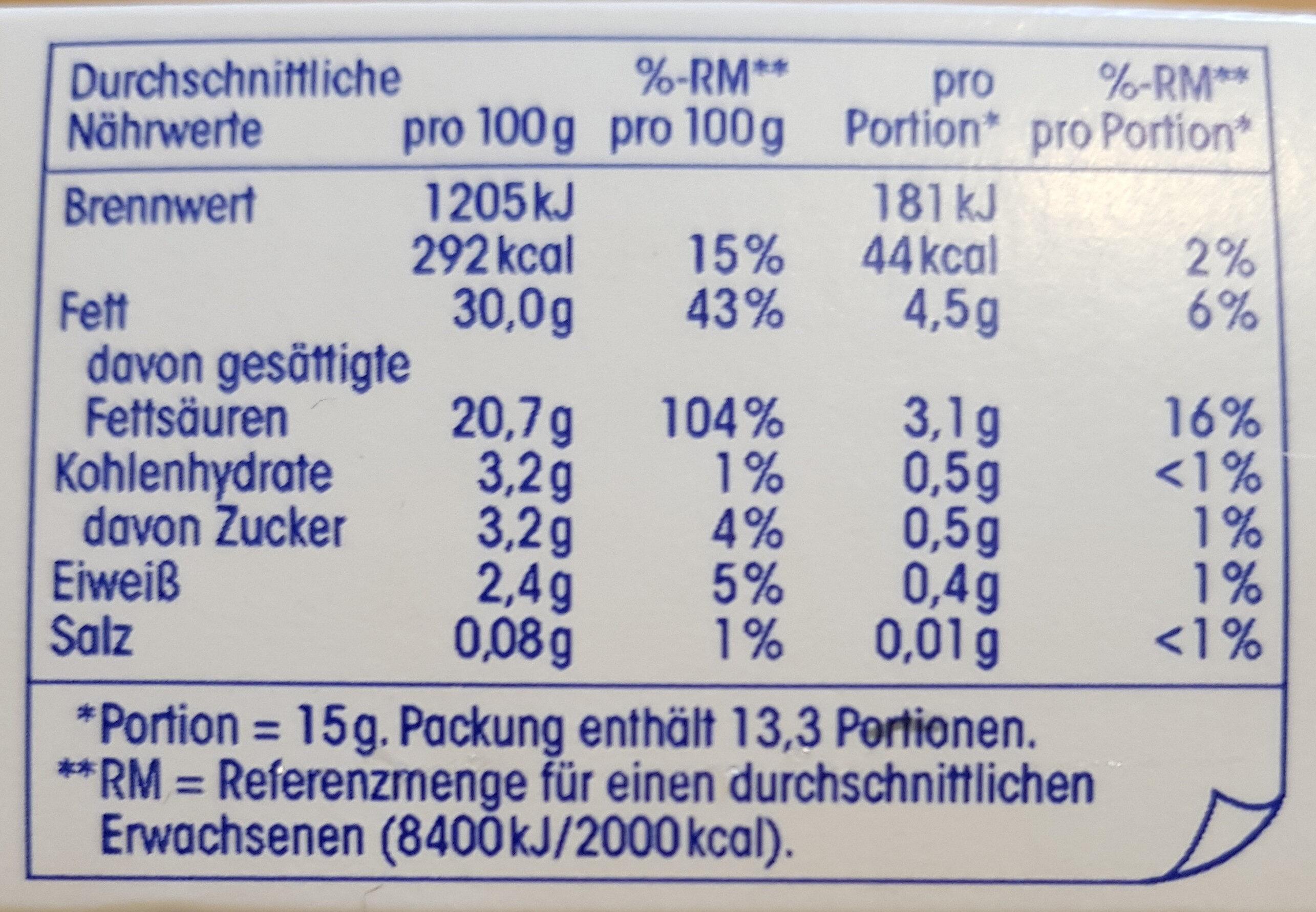 Schlagsahne, ultrahocherhitzt, mindestens 30 % Fett - Nutrition facts