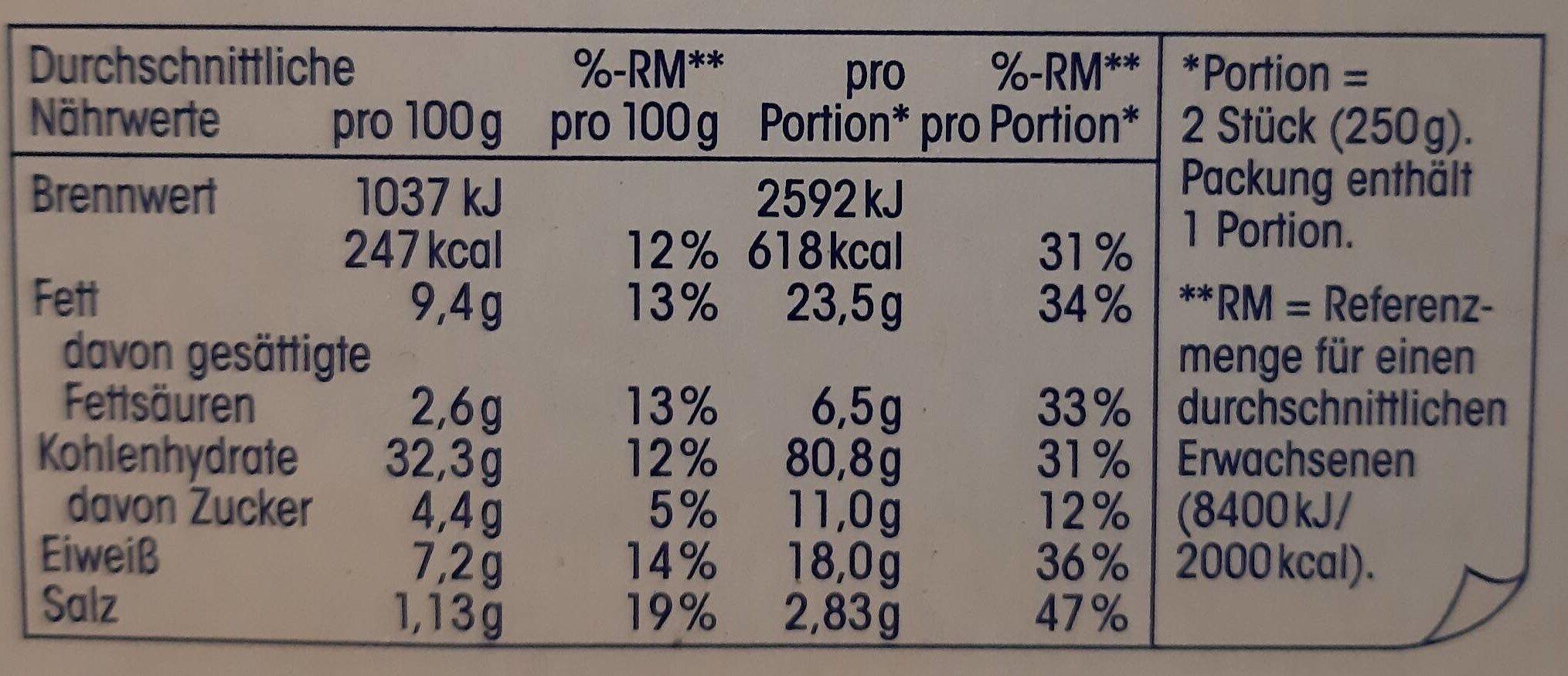 Baguette Champignon - Valori nutrizionali - en