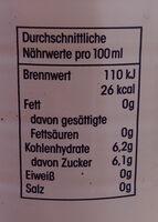 Erfrischungsgetränk Apfel-Rhabarber - Nutrition facts - de