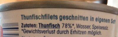 Thunfischfilets in eigenem Saft - Zutaten - de