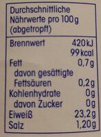 Thunfischfilets in eigenem Saft - Nährwertangaben - de