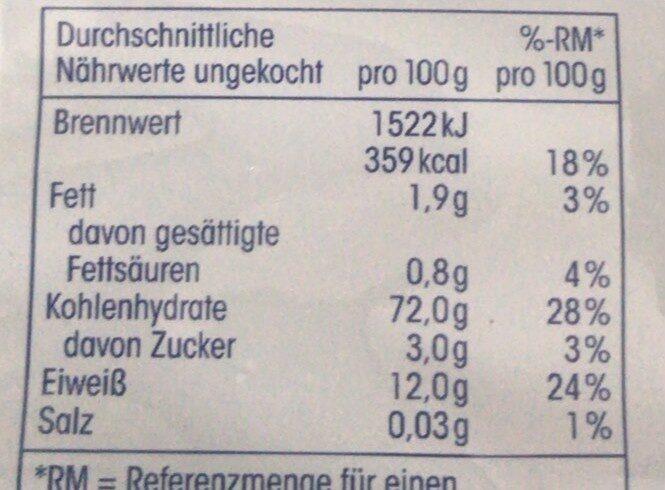 Fusilli - Nutrition facts - en