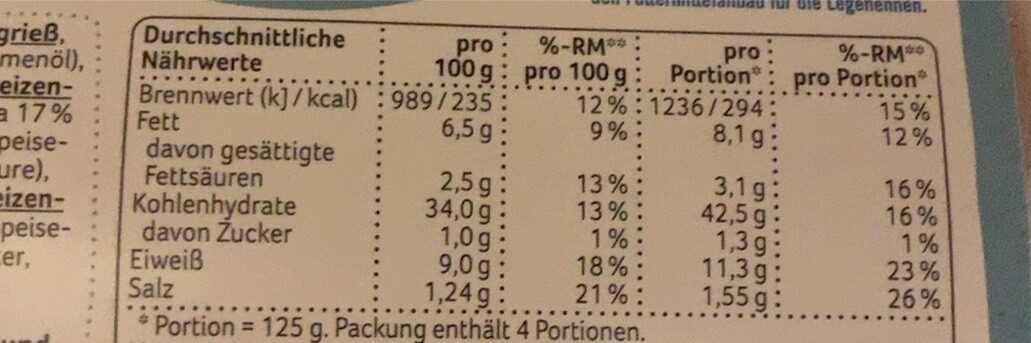 Tortelini - Nährwertangaben - de
