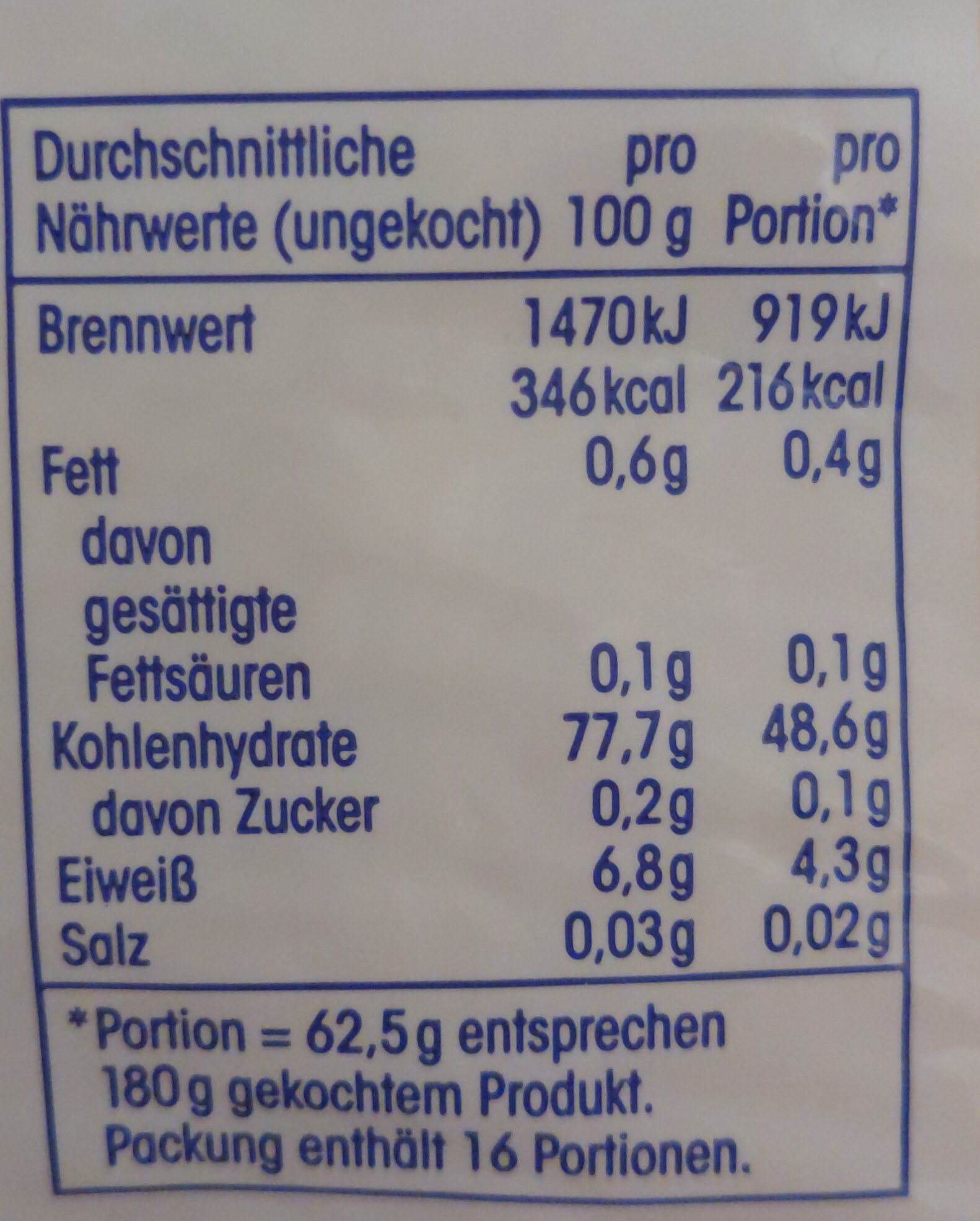 Jasminreis - Nutrition facts - en