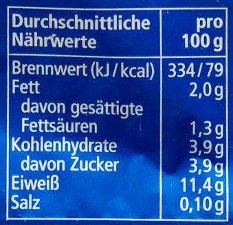 Speise Quark 10% Fett i. Tr. - Nährwertangaben