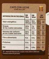 Cápsulas de café - Información nutricional