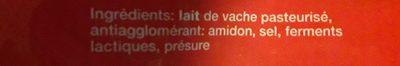 Emmentaler Râpé Vallée D'Henri 1 KG, 1 Pièce - Ingredients - fr